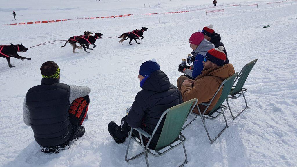 Fitmin tým sleduje závody zprvní řady.